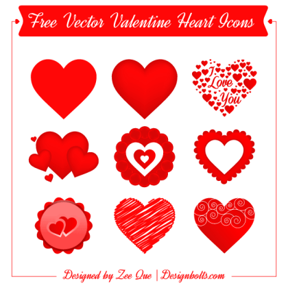 Valentines Red Heart Icons Vector Illustrator