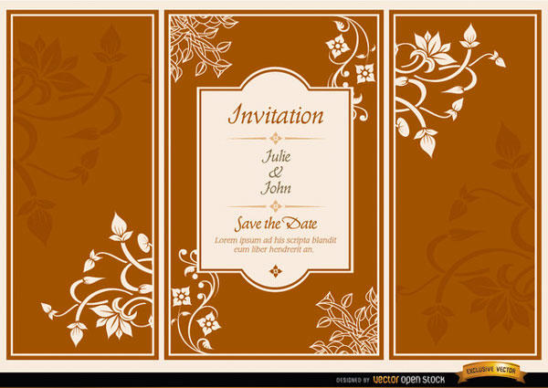 Vector Fl Triptych Brochure Wedding Invitation Template
