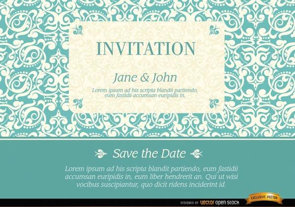 Marriage Invitation with Elegant Frame on Floral Pattern