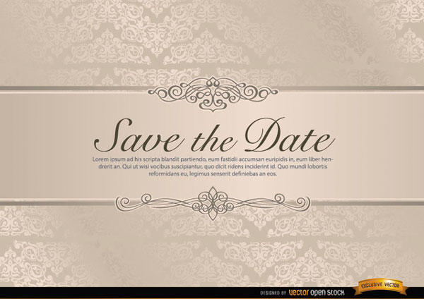 Vector Wedding Invitation Template With Fl Riband