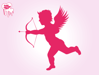 Flying Cupid Silhouette Vector Image