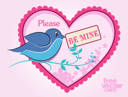 Be Mine Valentine's Day Card Vector Template