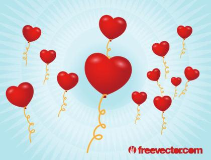 Red Heart Shaped Balloons Valentine Graphics