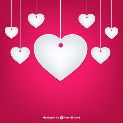 Valentine's Day Pink Background with White Paper Hearts