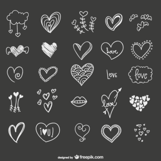 Hand Drawn Hearts Vector Illustrator