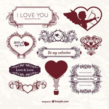 Vector Vintage Valentine's Day Label Template, Ornaments, Floral Frames, Cupid, Hearts