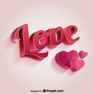 3D Love Lettering and Heart, Valentine's Day Card Vector