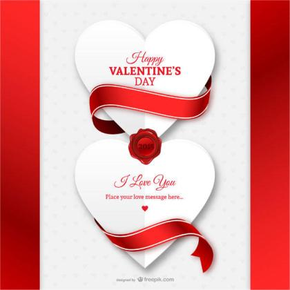 White Paper Heart with Red Ribbon Valentine's Day Card Vector