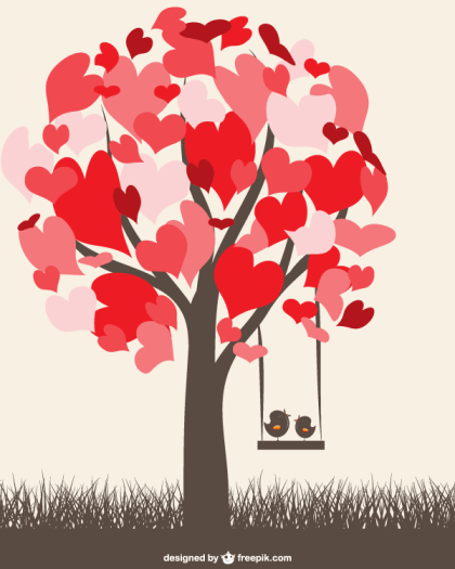 Heart Tree with Love Birds on a Swing, Valentine Graphics