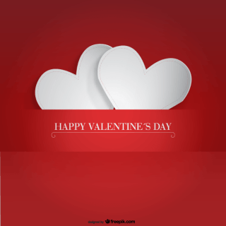 White Paper Hearts with Valentine's Day Card Banner