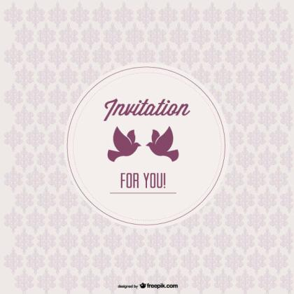 Vintage Invitation Template with Love Birds on Seamless Pattern Background