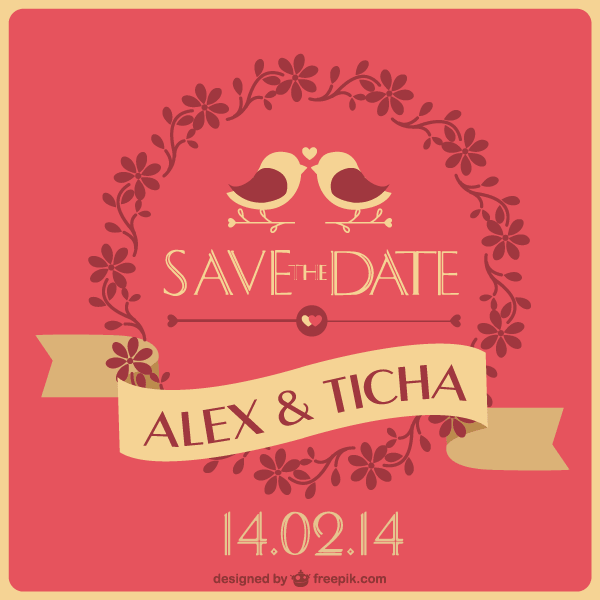 Save the Date Wedding Card Template Vector | 123Freevectors