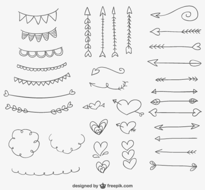 Hand Drawn Doodle Ornaments, Hearts and Arrows for Valentines Day Decoration