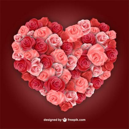Valentine's Day Graphics – Heart Shaped Rose Flowers Vector