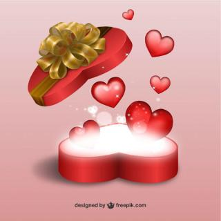Valentine's Day Graphics – Heart Shaped Gift Present Box with Flying Red Hearts