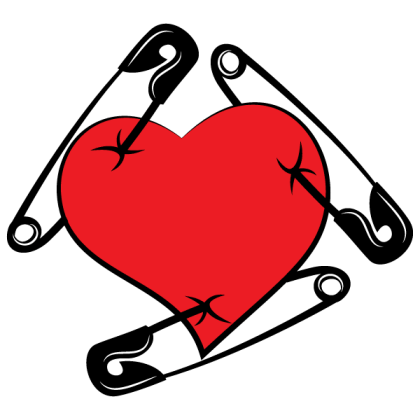 Red Heart Pierced with Safety Pin, Valentines Day Clip Art