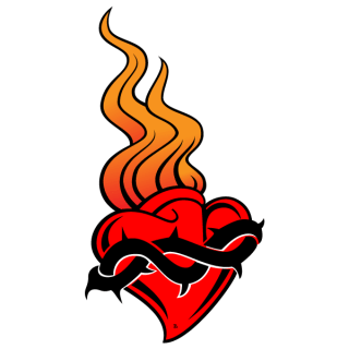 Red Heart with Fire Flame, Valentines Day Clip Art