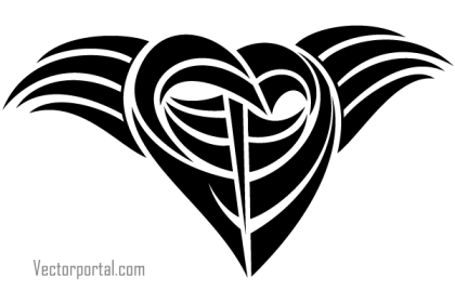Tattoo Tribal Heart Vector Clip Art Image