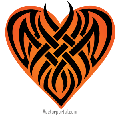 Vector Tribal Heart Tattoo Designs