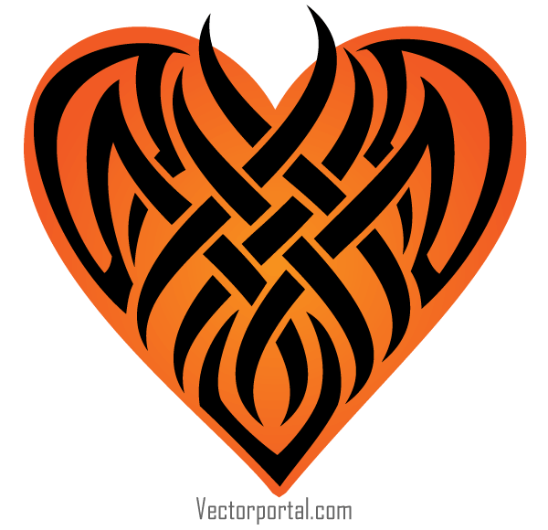 Vector Tribal Heart Tattoo Designs