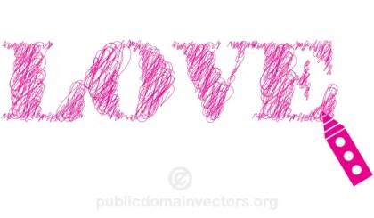 Scribble Sketch Lines Love Vector Text