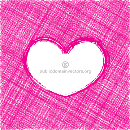 Pink Scribble Sketch Lines Valentines Heart Vector Background