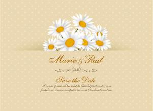 Daisy Flower Wedding Invitation Card Vector Template