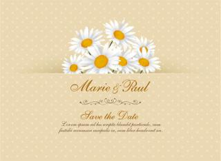 Daisy Flower Wedding Invitation Card Vector Template