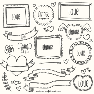 Vintage Calligraphic Ornaments, Banners, Valentine's Day Vector