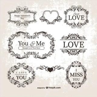 Vector Vintage Valentine's Day Ornamental Labels, Frames
