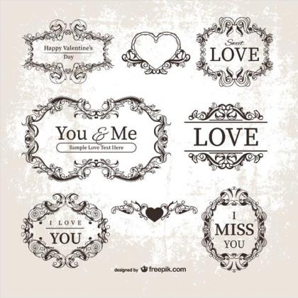 Vector Vintage Valentine's Day Ornamental Labels, Frames