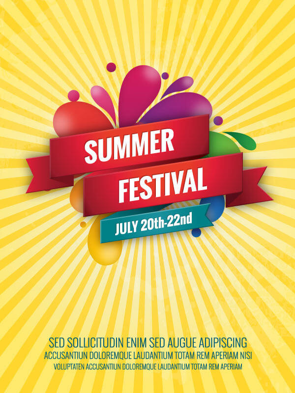 Summer Poster Template Free   123Freevectors