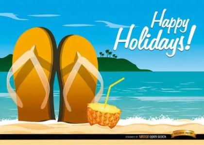 Beach Sandals Cocktail Background Vector