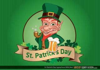 Leprechaun with Smoking Pipe and Beer for St. Patrick's Day