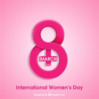 Happy Women's Day Pink Background with Text 8th March
