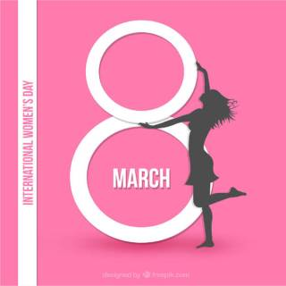 International Women's Day Pink Background Card Design with Girl and Text 8th March