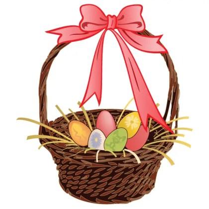 Easter Egg Basket Vector Art