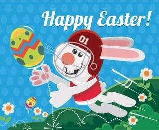 Easter Bunny Playing Football Vector Image
