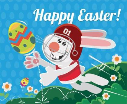 Easter Bunny Playing Football Vector Image