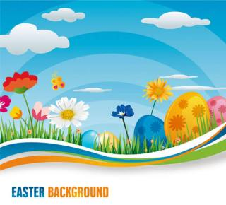 Colorful Wavy Blue Background with Easter Eggs and Flowers