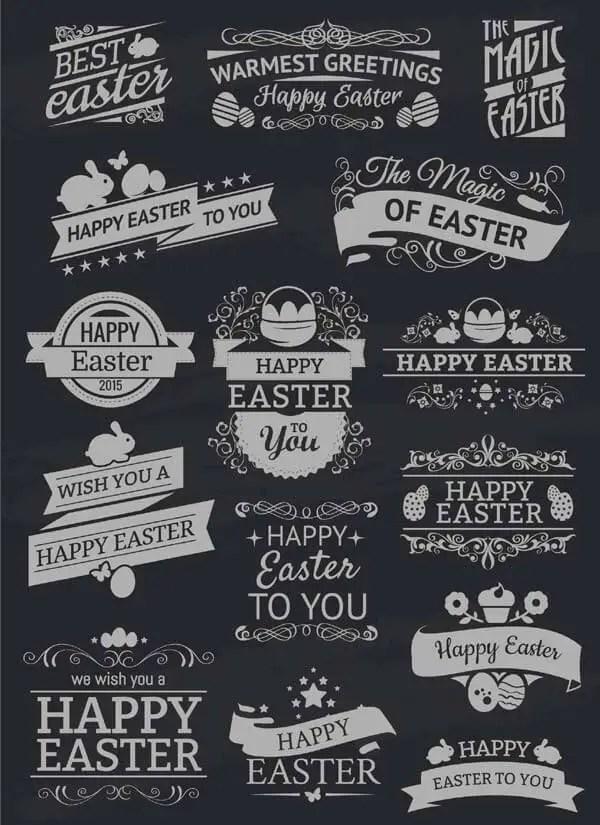 Easter Chalk Labels Vector