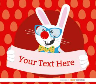 Easter Bunny Holding a Placard Vector Illustration