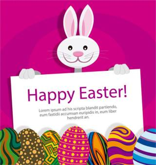 Easter Bunny Holding Happy Easter Placard Vector Template