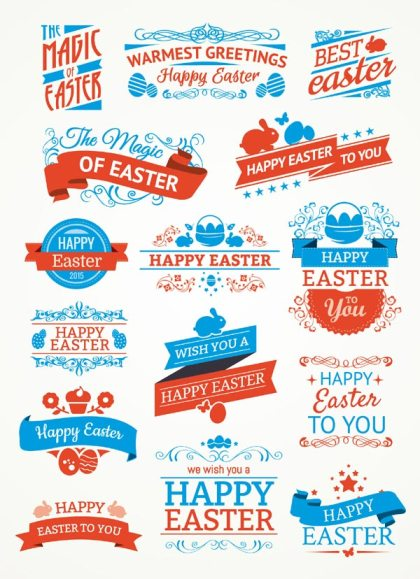 Easter Labels and Ribbons Vector Graphics