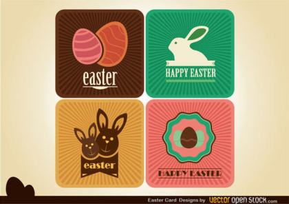 Happy Easter Card Designs with Eggs and Bunnies Vector Template