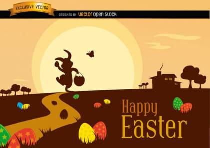 Easter Landscape with Bunny Silhouette, Decorated Eggs