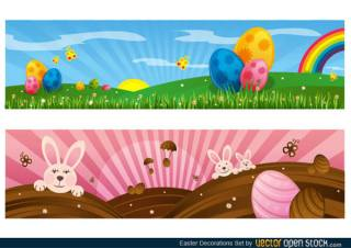 Easter Banner with Bunnies and Colorful Eggs