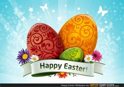 Happy Easter Wallpaper with Colorful Eggs