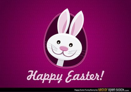 Easter Bunny Cartoon Greeting Card Vector