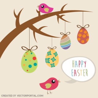 Happy Easter Greeting Card – Hanging Eggs from Tree Branch